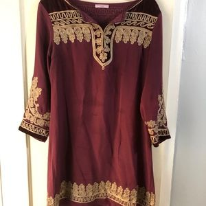 Calypso St. Barth Maroon and Gold Tunic Dress